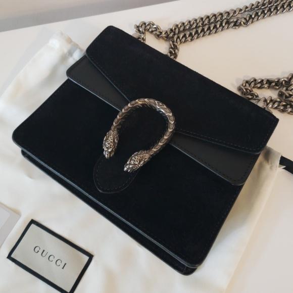 4d4af9de3 Gucci Bags | Dionysus Mini Black Suede Chain Crossbody | Poshmark